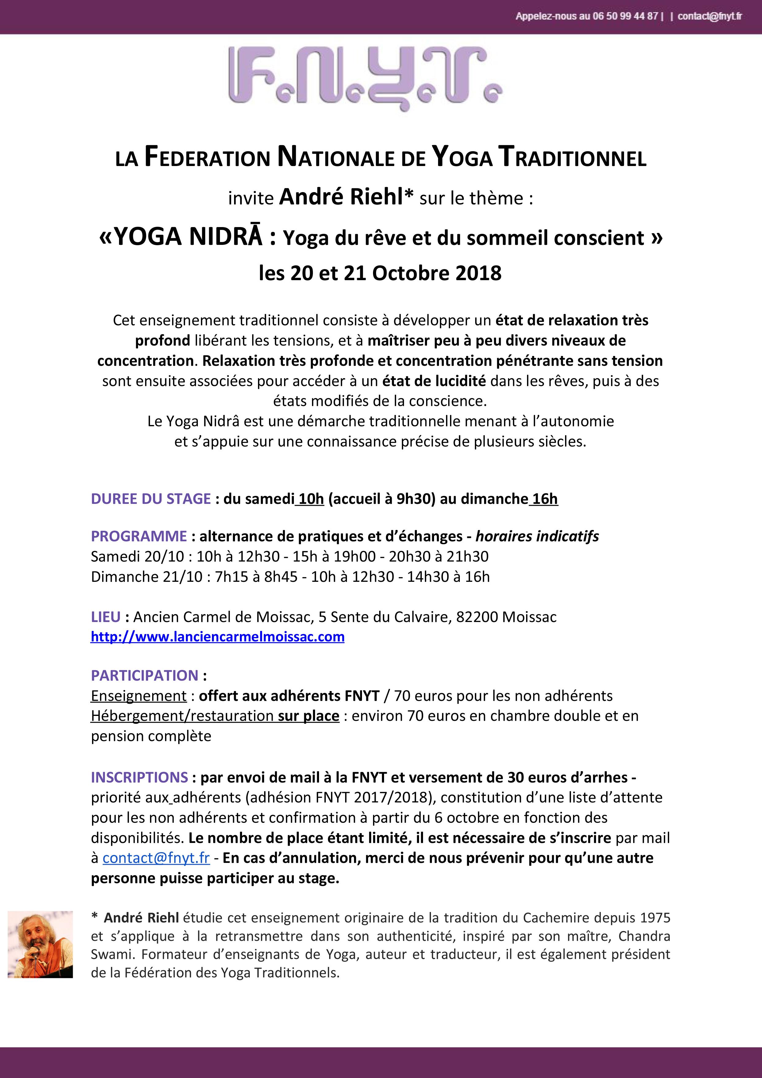 Stage de Yoga Nidra, 20 et 21 octobre